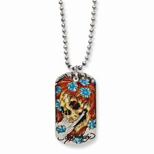 Stainless Steel Ed Hardy Big Ghost Painted Dog Tag 24inch Necklace