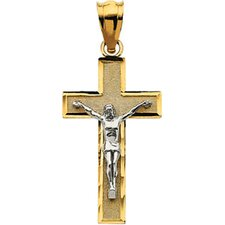 14k Two-Tone Crucifix Pendant32.25x18.75mm
