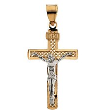 14k Two-Tone Crucifix Pendant31x19.75mm