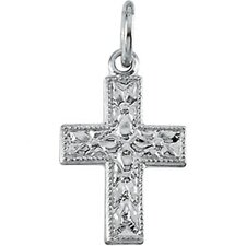 14k White Gold Small Cross Pendant10x7.5mm