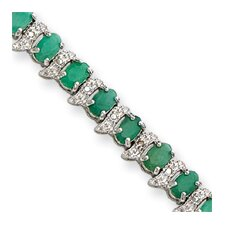 13.0 cttw Sterling Silver Genuine Emerald and Diamond Bracelet - Box Clasp