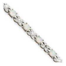 Sterling Silver Created Opal and Diamond Bracelet - Box Clasp