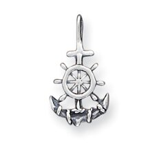 Sterling Silver Antiqued Anchor and Ships Wheel Pendant