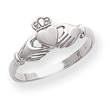 14k White Gold Polished and Satin Claddagh Ring