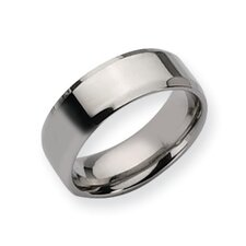 Stainless Steel Beveled Edge 8mm Polished Band Ring