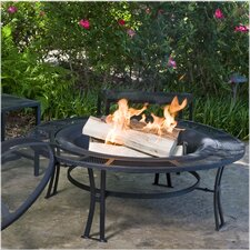 Steel Mesh-Rimmed Fire Pit and Bench Set