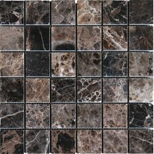 "12"" x 12"" Polished Marble Mosaic in Emperador Dark"