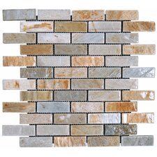 "12"" x 12"" Tumbled Slate Mosaic in Golden White"