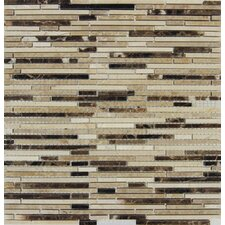 "Emperador Blend Bamboo 12"" x 12"" Marble Mesh Mounted Mosaic Tile in Brown"