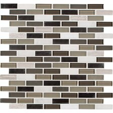 "Silver Tip 12"" x 12"" Glass Stone Metal Blend Mesh Mounted Mosaic Tile in Multi"