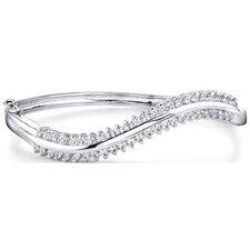 Exquisitely Inspired Sterling Silver Prong-Set Cubic Zirconia Hinged Bangle Wave Bracelet