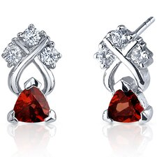 Regal Elegance 1.00 Carats Garnet Trillion Cut Cubic Zirconia Earrings in Sterling Silver