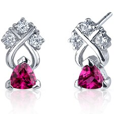 Regal Elegance 1.00 Carats Ruby Trillion Cut Cubic Zirconia Earrings in Sterling Silver
