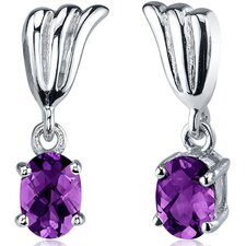 Striking 1.50 Carats Gemstone Oval Cut Earrings in Sterling Silver