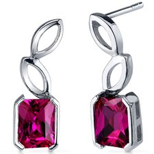 Elegant Leaf Design 2.50 Carats Ruby Radiant Cut Earrings in Sterling Silver