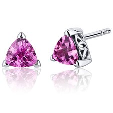 2.00 Carats Pink Sapphire Trillion Cut V Prong Stud Earrings in Sterling Silver