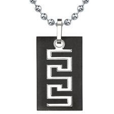 Personality and Distinction Titanium Gunmetal Finish Greek Key Dog Tag Pendant for Men on a Stainless Steel Ball Chain