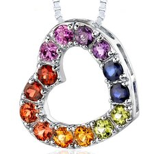 2.00 Carats Total Weight Round Shape Rainbow Color Open Heart Pendant Necklace in Sterling Silver