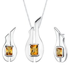 "1.13"" 2.75 carats Radiant Cut Citrine Pendant Earrings Set in Sterling Silver"