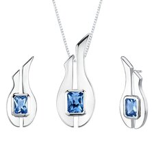 "1.13"" 3.75 carats Radiant Cut London Blue Topaz Pendant Earrings Set in Sterling Silver"