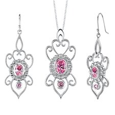 Oval and Round Shape Pink Cubic Zirconia Pendant Earrings Set in Sterling Silver