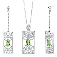 "2.5"" 3.50 carats Radiant Cut Peridot Pendant Earrings Set in Sterling Silver"