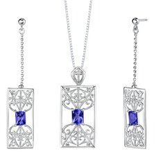 "2.5"" Radiant Cut Sapphire Pendant Earrings Set in Sterling Silver"