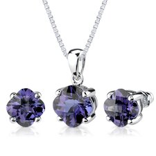 Classic Perfection 8.25 Carats Checkerboard Lily Cut Alexandrite Pendant Earring Set in Sterling Silver