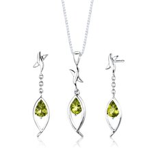"Sterling Silver Pear Shape Gemstone Pendant Earrings and 18"" Necklace Set"