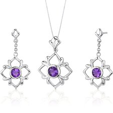 Floral Design Round Cut Sterling Silver Gemstone Pendant Earrings Set