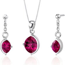 Museum Design 6.00 Carats Marquise Cut Sterling Silver Ruby Pendant Earrings Set