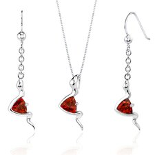 Contemporary Style 1.50 Carats Trillion Cut Sterling Silver Garnet Pendant Earrings Set