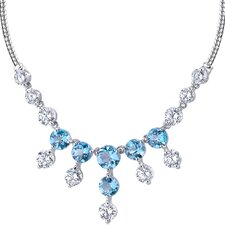 Luxurious 11.00 carats Round Shape Swiss Blue Topaz and White CZ Gemstone Necklace in Sterling Silver