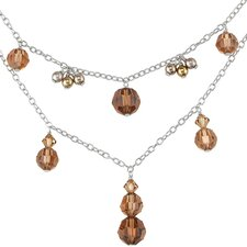 Chocolate Dream Two Tier Sterling Silver Charm Necklace with Swarovski Crystals and Pearls