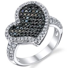 Sterling Silver Rhodium Finish CZ Twinkling Heart  Ring