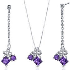 Princess and Round Cut Gemstone Butterfly Design Pendant Earrings Set