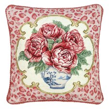 Rose Leopard Print 100% Wool Needlepoint Pillow