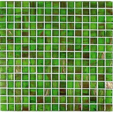 "Bronze/Gold Monocolor 13"" x 13"" Glass Mosaic in Verde Monocolor Bronze"