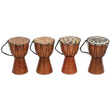 Animal Print Wood Drum (Set of 4)