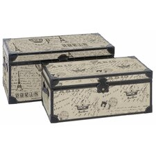 Paris Script Rectangular Trunk (Set of 2)