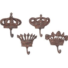 Metal Crown Wall Hook (Set of 4)