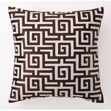 Greek Key Down Filled Embroidered Linen Pillow