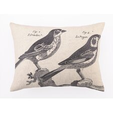 French Birds II Down Filled Embroidered Linen Pillow