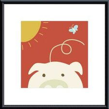Peek-a-Boo IV Pig by Yuko Lau Metal Framed Art Print