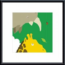 Safari Group: Giraffe and Rhino Metal Framed Art Print