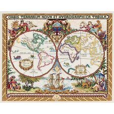 Olde World Map Counted Cross Stitch