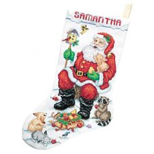 Santa and Animals Stocking Christmas Cross Stitch