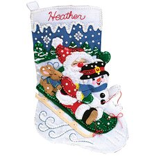 Christmas Fun Felt Stocking Cross Stitch