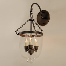 3 Light Bell Jar Wall Sconce