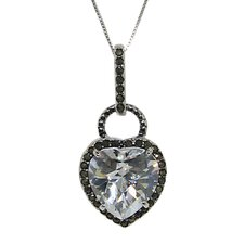 Sterling Silver Cubic Zirconia and Marcasite Heart Necklace
